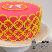 13th overlapping rings cake