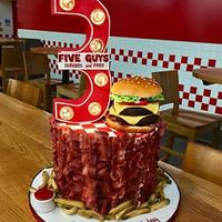 Five guys, burger and fries cake