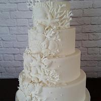 White On White Ocean Wedding Cake
