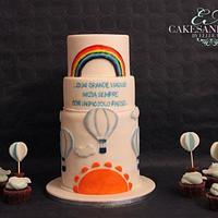 Hot air balloon cake and cupcakes