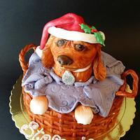 Puppy inside basket cake