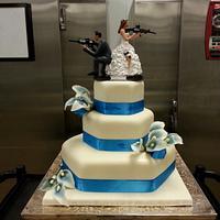 Blue Calla Lily Wedding cake