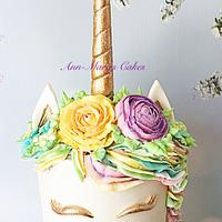 Unicorn and palette knife flowers by Ann-Marie Youngblood