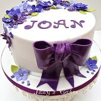 Purple and lilac 80th birthday cake