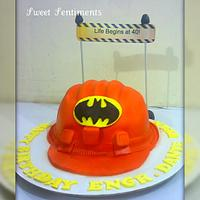 Hard hat cake for a Batman lover