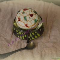 macaron handpainted flowers and pattern