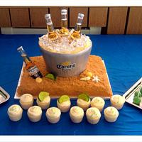 Corona in Ice Bucket Cake