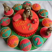Little Charley Bear cake & cupcakes