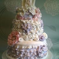 ruffles and flowers cake