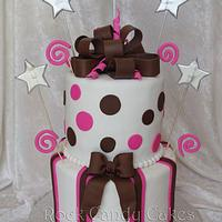 Brown & Pink Birthday Cake by Rock Candy Cakes