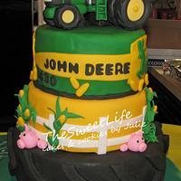John Deere Graduation cake & cupcakes by Julie Tenlen