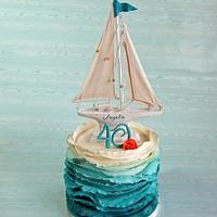 Sail boat Ombre ruffle cake