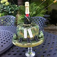 Champagne Camouflage Explosion Cake