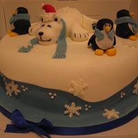 Polar Bear and friends Christmas cake