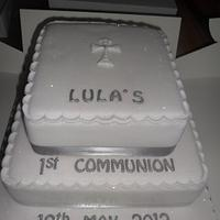 2 tier first communion cake