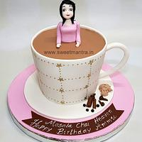 Masala chai, tea cup shaped customized cake