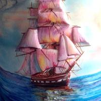 Bas-relief of the sailboat, hand-painted.