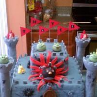 "Angry Bird ""Bomb"" cake"