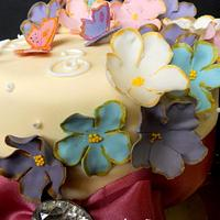 Floral Cake with Butterfly Cupcakes for an 80th Birthday