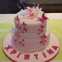Butterflies and flower christening cake