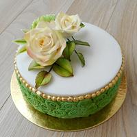 With sugar flowers