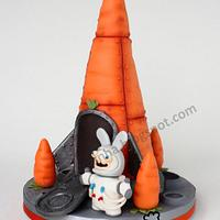 Easter Cake - The Space Bunny and his Rocket Carrot make it to the Moon !!