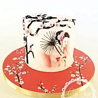 Hand painted japanese cake