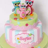 Baptism cake with owls