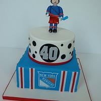 NY Rangers Hockey Cake