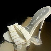 Gum paste high heel wedding shoe