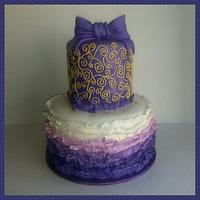 Purple w/Gold Ruffle Cake
