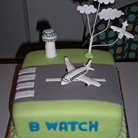 Aeroplane/air traffic control Cake by Helen