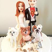 bride, groom and animals