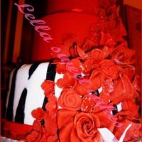 Red and zebra cake by LellaSweetCakes