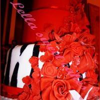 Red and zebra cake