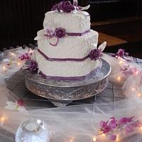Lace, Orchids and Roses Wedding Cake