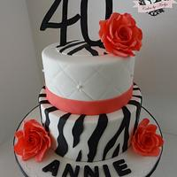 Zebra and Roses 40th Birthday cake