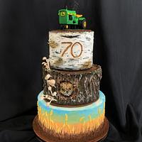 Tree stump and tractor cake for 70th bday.