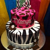 14th B-Day Animal Print Cake
