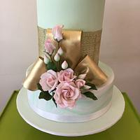 Mint and pink wedding cake