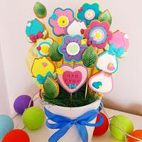 Cookie bouquet of flowers
