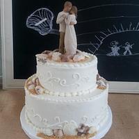 Beach Wedding Cake with Willow Tree Topper by Donna Tokazowski- Cake Hatteras, Hatteras N.C.