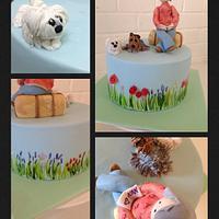 Figure on hand painted cake