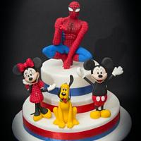 Spiderman & Mickey Mouse Cake