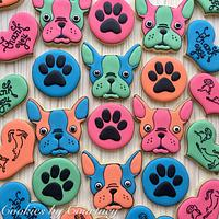Boston Terrier cookies in the Andy Warhol style