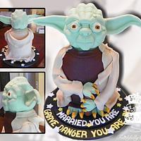 Yoda Groom's Cake by FaithfullyCakes