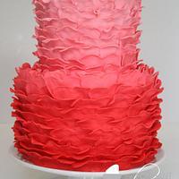 Ombre Valentine's Ruffle Cake