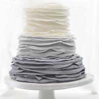 Ombré ruffles wedding cake by Kayleigh's cake boutique
