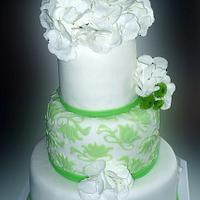 White/green cake