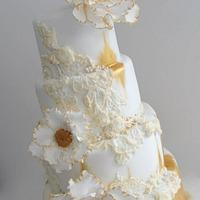 Antique Distressed Lace Cake
